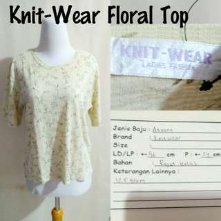 Knit Wear Floral Top | Pakaian Wanita | Atasan Import