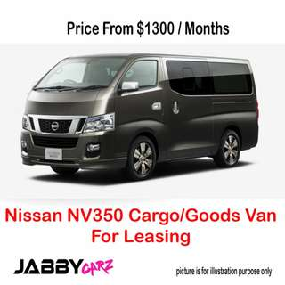 Nissan NV350 Cargo/Goods Van For Leasing