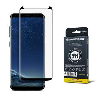 GPEL Galaxy S8 Screen Protector, GS8, Case Friendly, Tempered Glass, Premium Japanese Asahi Glass - Black.