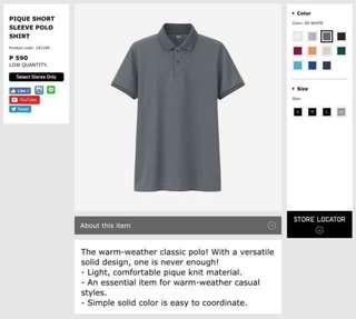 Uniqlo Gray Polo Shirt for Men