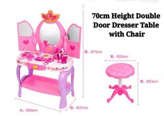 (Set M3) Dresser Table with Chair Make up Pretend Play Toys Set