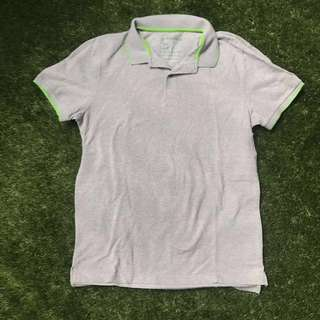 Giordano Gray w/ Neon Green Piping Collared T-Shirt Large