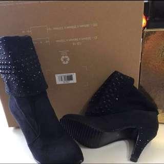 Winter Suede heel boots with Studs details