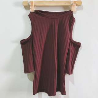 Maroon ribbed top