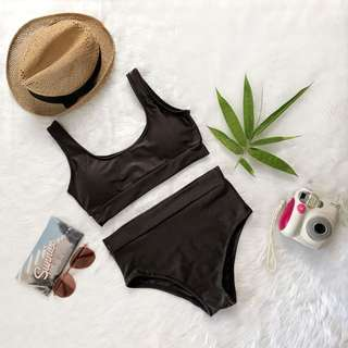 Free SF Metallic black two piece