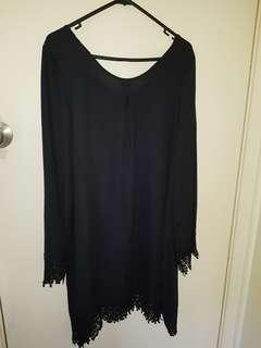 Women Chiffon Crochet Tassels Black Beach Mini Dress size 12/14