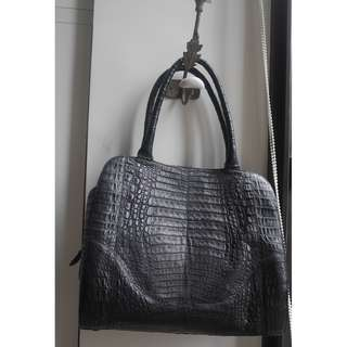 Matt Black Alligator Crocodile Celebrity Style Ladies Shoulder/ Hand Bag