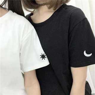 Instock! - BNIP Black Crescent Moon Embroidered Ulzzang Round Neck Basic Plain Tee / Tshirt