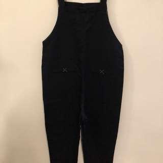全新 正韓 韓製 黑色 吊帶長寬褲