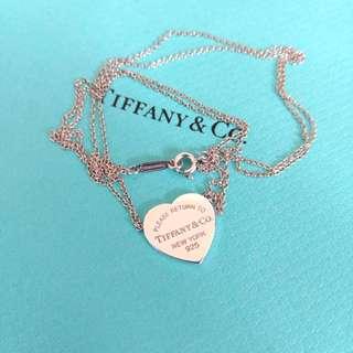 專櫃真品Tiffany橫式愛心 心牌刻字項鍊