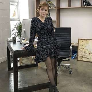 Chuu Black Polka Dot Dress