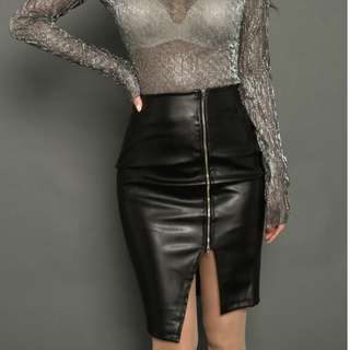 Sexy Leather Skirt