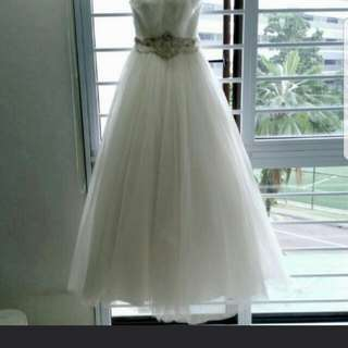 White Beaded Crystal Embellished Bride Bridal Wedding Princess Sweet Ball Gown Clearance