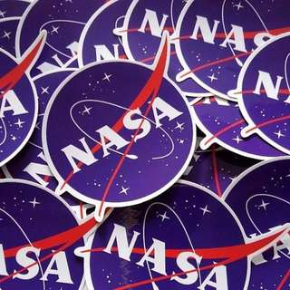2 Pieces NASA Glossy Sticker Decal Luggage Laptop