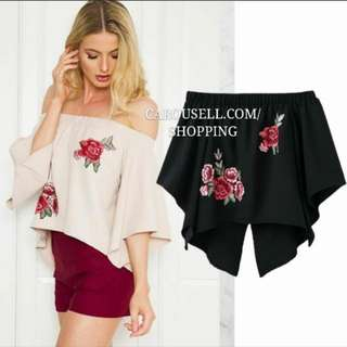 (INSTOCKS) Rose Embroidered Off Shoulder Top