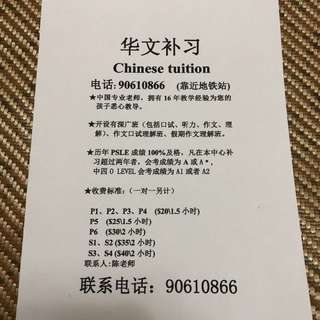 Sembawang Chinese Tutor One to One And Group Tuition EX-MOE Experienced Tutor(p1-S4)
