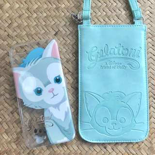 香港Disneyland購入 Duffy's Friend Gelatoni I Phone 6/6s 透明硬殼 連 掛帶手機套