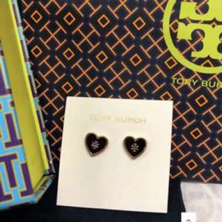 Tory Burch logo stud heart earrings
