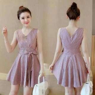 Pink Striped Waisted Dress