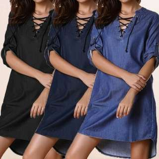[PO] Euro Lace-Up Denim Dress (16)