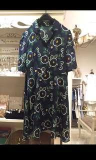 Cut label  silk shirt flowery dress