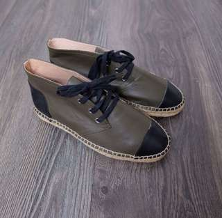Womens leather espadrille