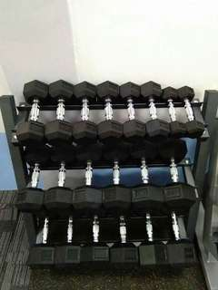 Hex Dumbbell set with Rack