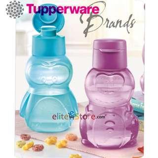 TUPPERWARE Kids Bottle Cartoon Flip Top DINO [Purple] + PENGUIN [Mint Blue] 350ml Children's day gift school