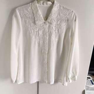 精緻雕花白襯衫