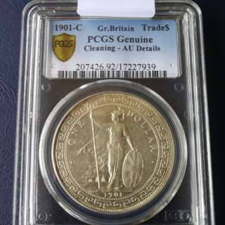 British trade dollar 1901C pcgs AU det