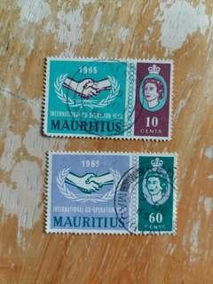 毛里裘斯郵票 1965年國際合作年已銷郵票一套二全