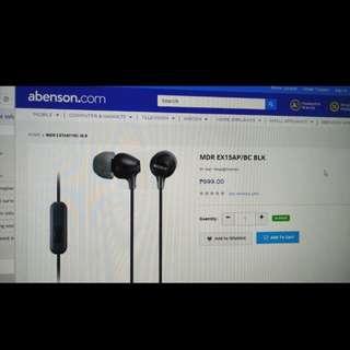 Earphone sony, online price 999.