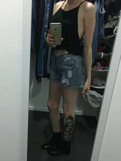 Grunge/punk ripped denim shorts