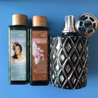 Set of Lamp Berger and 2 bottles of parfum