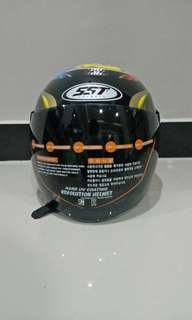 Helm Half Face SST Racer Go Fun Decal