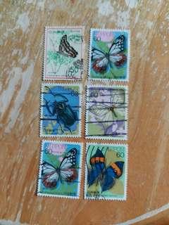 日本郵票 昆蟲已銷郵票 6枚