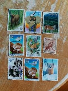 日本郵票 動物已銷郵票 9枚
