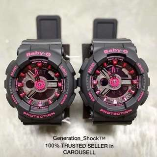 TWIN 💝 SET CASIO-BABYG DIVER WATCH : 1-YEAR OFFICIAL WARRANTY : 100% Originally Authentic BABY-G-Shock resistant ABSOLUTELY TOUGHNESS In Deep Black Matt Stealth added with Pink Purplish BEST GIFT For Most Rough Users: BA-111-1ADR / BA-110 GSHOCK