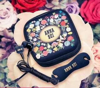 Anna Siu earphone 經典蝴蝶入耳式耳機/耳筒套裝 包括碎花收納盒及捲線器