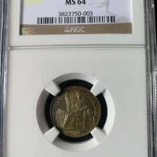 French indo china 10 cent 1929A graded 64
