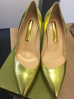 Rupert Sanderson New 37.5 Metallic Gold high heels