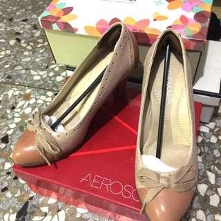 AEROSOLES 專櫃真皮高跟鞋24/24.5 裸色 #五百元好女鞋