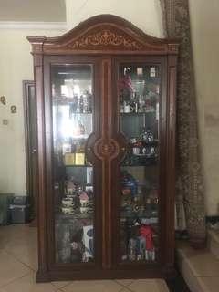 Lemari Kaca Pajangan Buffet Antik 2 Pintu