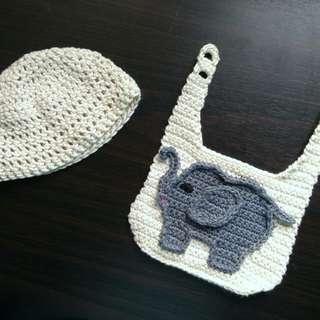 Crochet Beanie and Bib Set