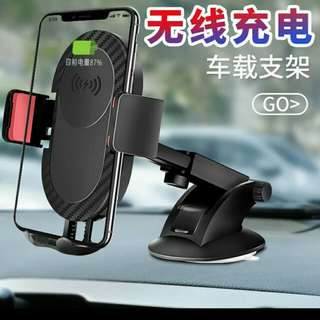 Qi Wireless Charger Fast Charging Car Charger for iPhone 8 X Mobile Phone Charger with Car Holder for Galaxy S7 S8 - intl