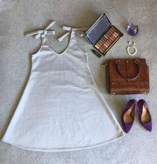 Light Gray Ribbon Dress