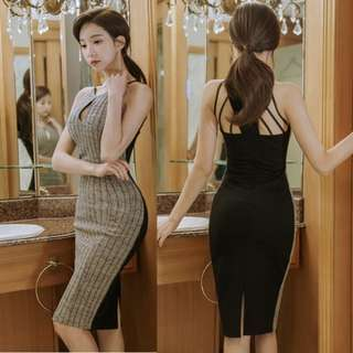 Hollow Out Backless Stripe Bodycon Strap Dresses