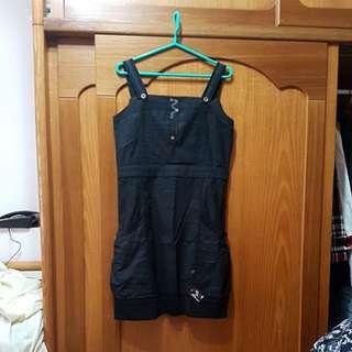 🚚 Shyangan-hlw計師專櫃黑色直紋純棉洋裝