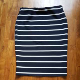 Cotton Striped Skirt L