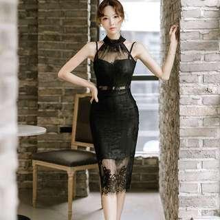 Lace Cut In Bodycon Midi Dress
